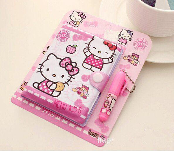 12*14.5cm Cute Hello Kitty Notebook with Ballpoint Pen Notepad Diary Book Exercise Book Escolar Papelaria School Office Supply