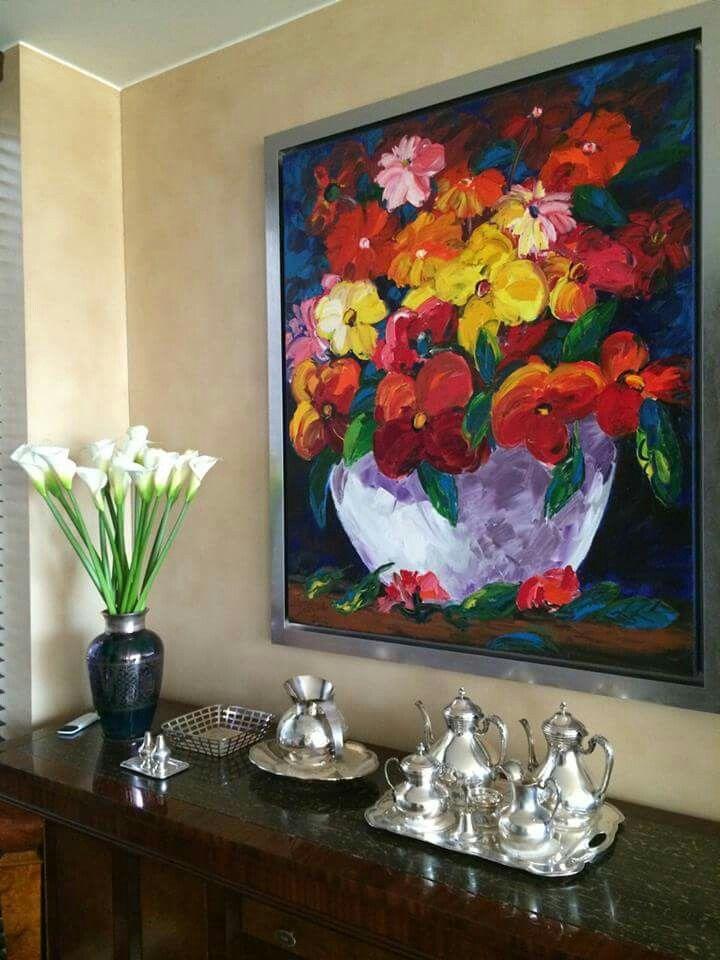 Bodegon con flores Serie bodegones Beatriz isaza arte 120x150 Oleo sobre lienzo