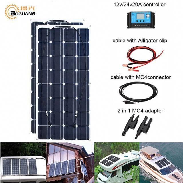 2pcs 100w 200w Flexible Solar Panel Cell Module System Rv Car Marine Boat Home Use 12v 24v Diy Kit Solar Panels Paine In 2020 Solar Panels Flexible Solar Panels Solar