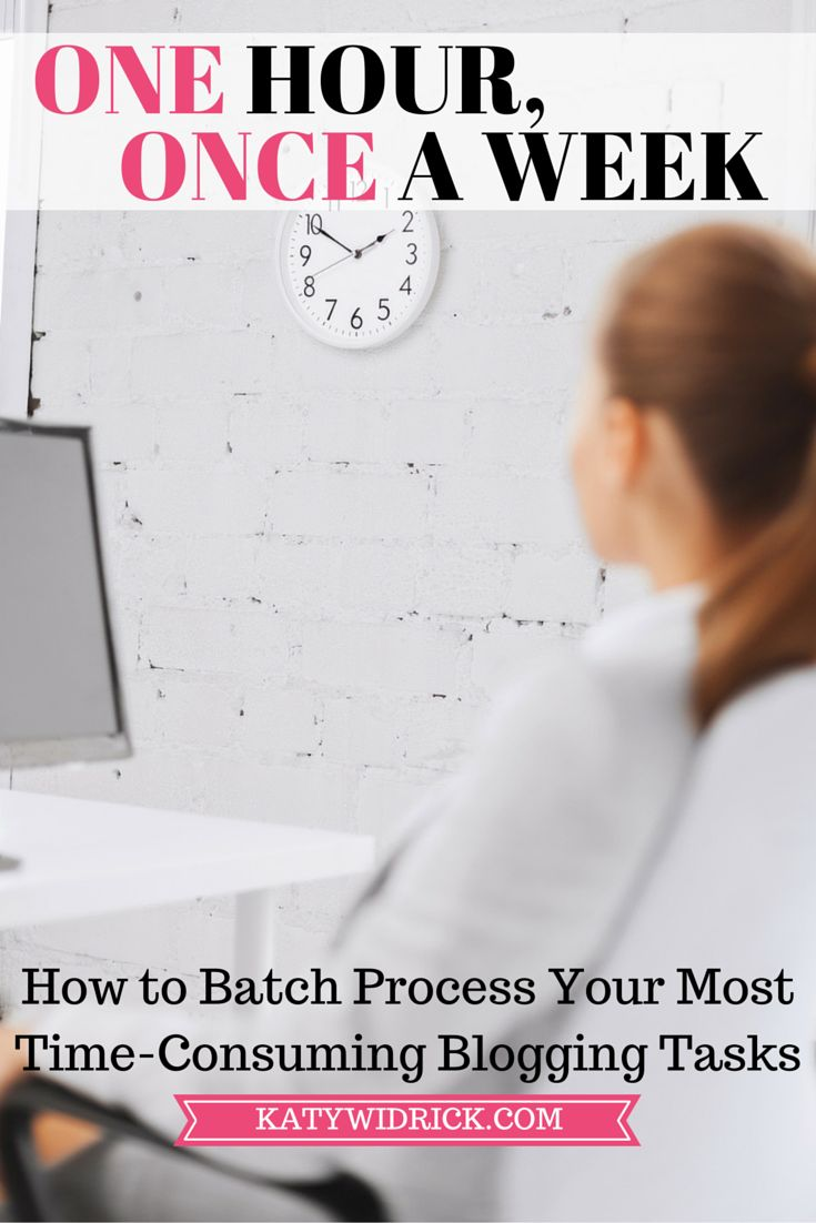 One Hour, Once a Week: How to Batch Process Your Most Time-Consuming Blogging Tasks - http://katywidrick.com/batch-process-blogging-tasks/?utm_campaign=coschedule&utm_source=pinterest&utm_medium=Katy%20Widrick%3A%20Healthy%20Living%20in%20a%20Hectic%20World&utm_content=One%20Hour%2C%20Once%20a%20Week%3A%20How%20to%20Batch%20Process%20Your%20Most%20Time-Consuming%20Blogging%20Tasks
