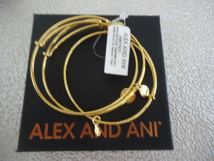 Alex and Ani SET OF 3 Shiny Gold Finish Wire Bangles New W/ Tag Card & Box #AlexandAni #Bangle