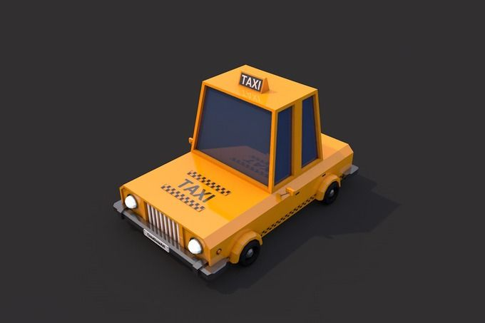 Low Poly Taxi Car by CreativeeArt on @creativemarket