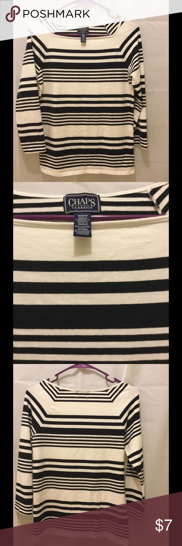 Chaps Women's Stripe Shirt Chaps Women's long sleeve striped shirt. Very clean, no spots. 96% cotton/4% elastane. Machine washable. Thanks for shopping. Tops
