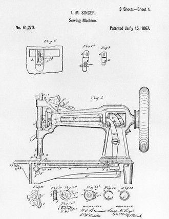 Patent Drawing Of An Early Singer Round Bobbin Sewing Machine 1867
