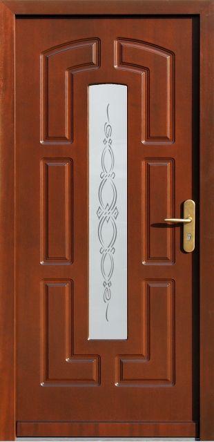Drewniane wejściowe drzwi zewnętrzne do domu z katalogu modeli klasycznych wzór 593s1+ds1