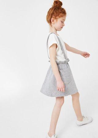 Cotton-blend textured pinafore dress | MANGO KIDS