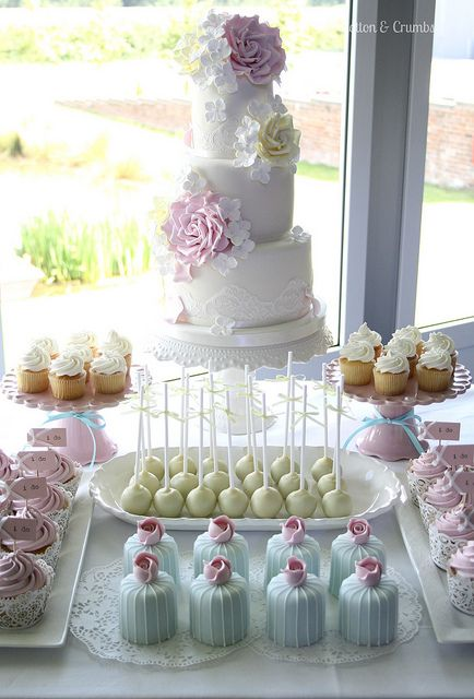 Cake table by Cotton and Crumbs, via Flickr
