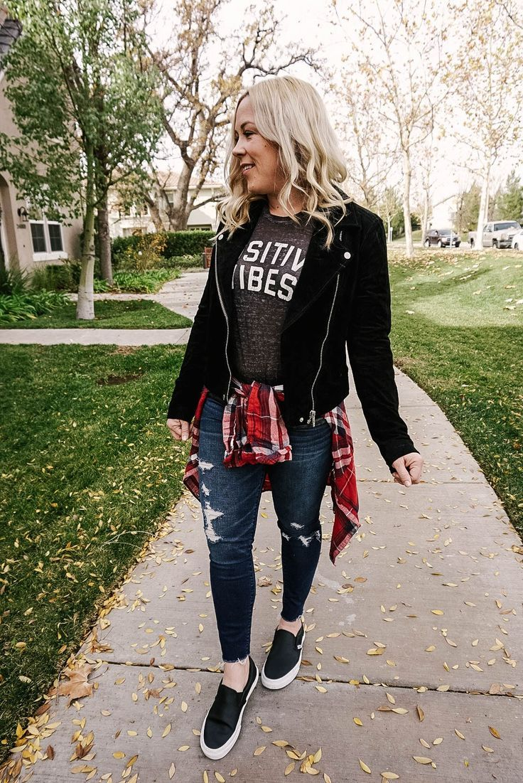 graphic tee outfit   moto jacket outfit   3 ways to wear a moto jacket   blank nyc moto jacket   suede moto jacket   casual outfits   edgy outfits   outfits for moms   winter style   fall style   everyday style   sneakers outfit   how to wear a moto jacket   how to wear ripped jeans   ripped jeans   skinny jeans   distressed jeans   positive vibes tee