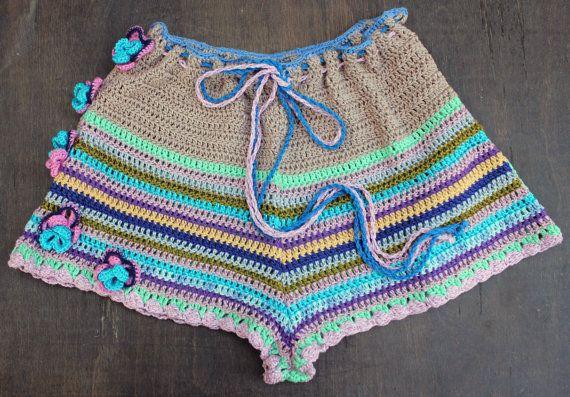 pantaloncini a vita alta pantaloncini Crochet Crochet Beach
