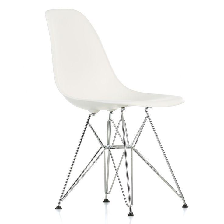 Vitra - Eames Plastic Side Chair DSR (H 43 cm), verchromt / weiß, Kunststoffgleiter basic dark (Teppichboden) Weiß T:55 H:83 B:46