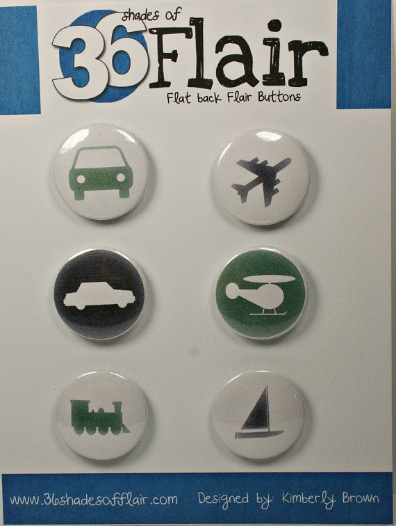 Trains Planes and Automobiles Round Flat backed by 36ShadesofFlair, $4.75