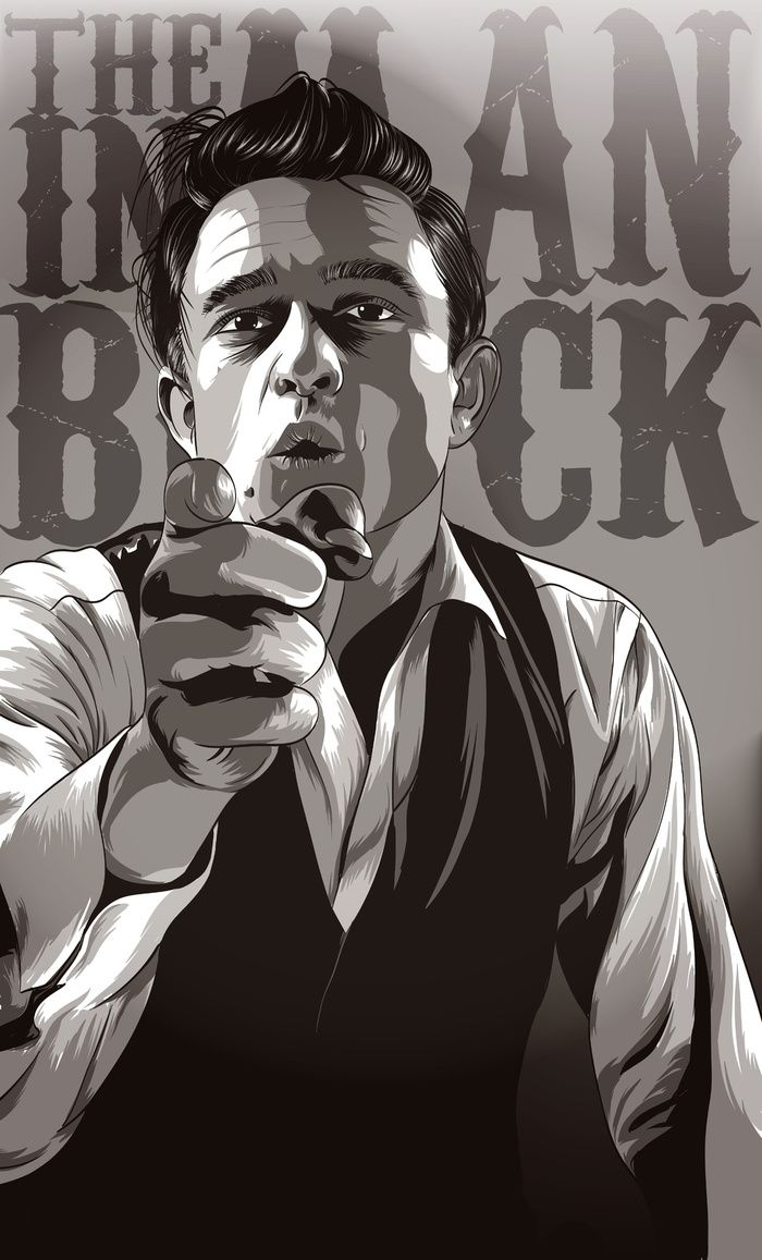 I play him on repeat some days. The best. :: Johnny Cash Art Print by Denis O'Sullivan