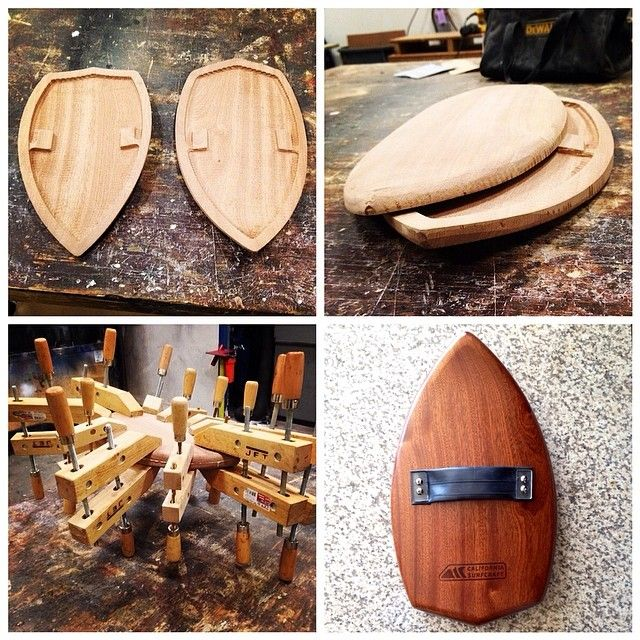 A peak into the construction of the hollow, mahogany handplane. #bodysurfing…