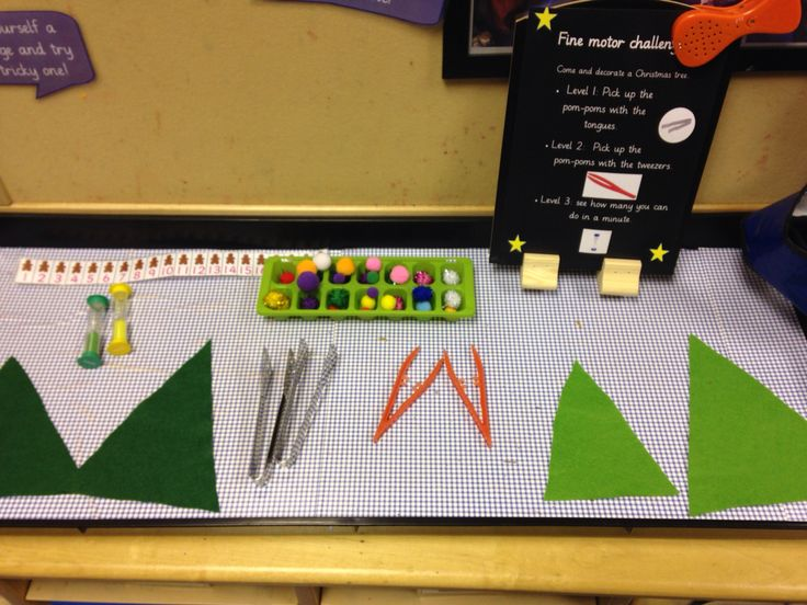 Fine motor challenge for early years. Decorate the Christmas tree with tongs or tweezers. -by EYchloe