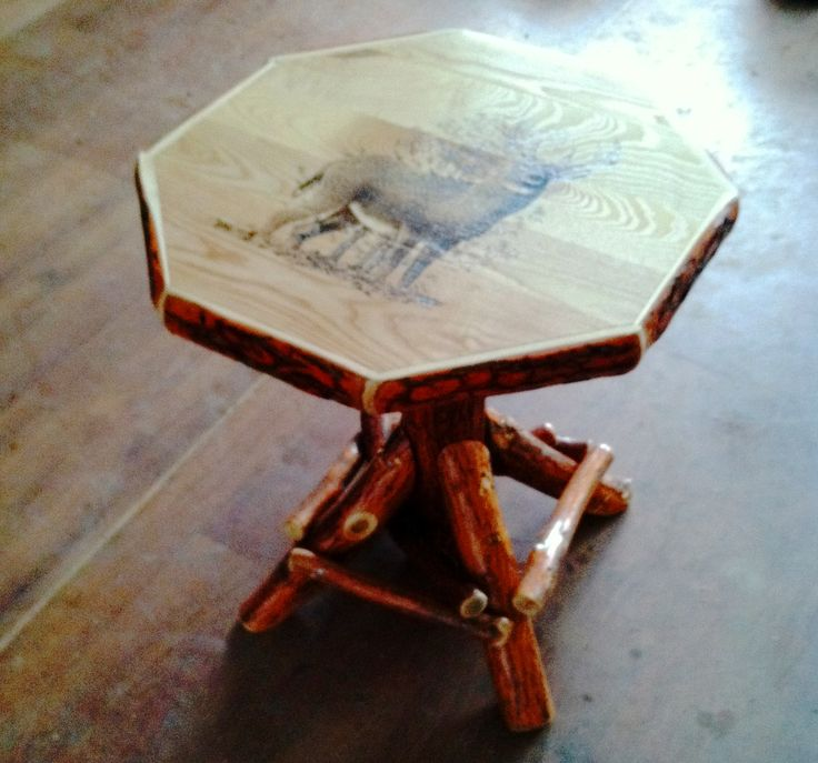 log rustic furniture amish. Rustic Log Sassafras Octagon Indoor Table With Ash Wood Top - Available Your Choice Of Furniture Amish