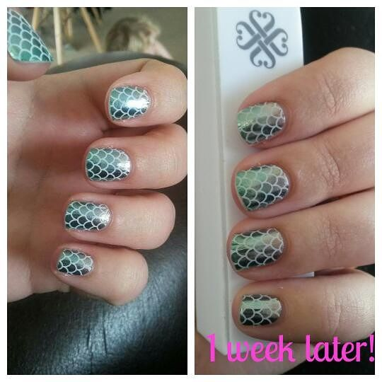 These wraps are called Mermaid Tales! 1 week later and still going strong! #ilovejamberry #bestnailwrapsever #quality #prettynails #JamzWithJenNZ shop for your own here www.jamzwithjennz.jamberrynails.net