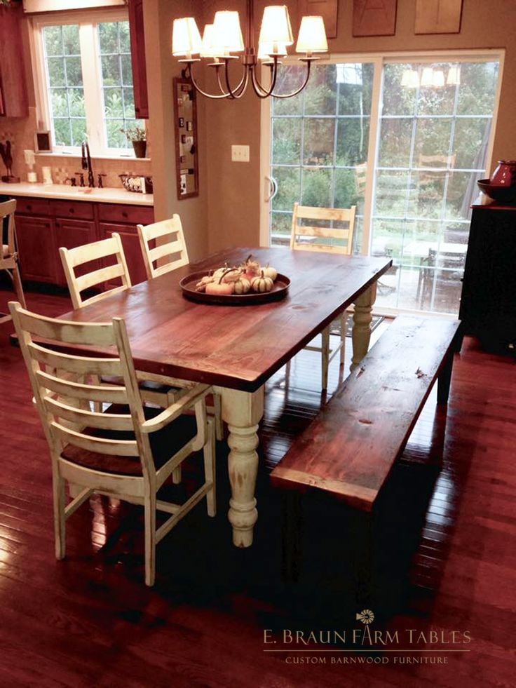 Distressed Antiqued Finish On Chairs Bench And Table Base Legs 2