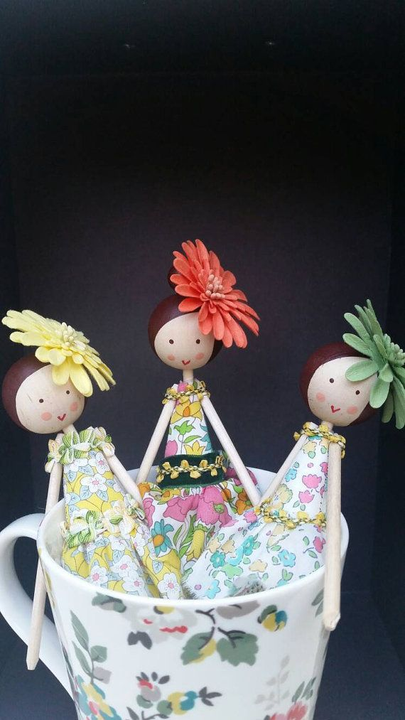 These beautiful little flower fairies are all individually handmade by Justsosara. Each one is unique and is lovingly painted and stitched by hand. They would make a perfect Christmas gift, Wedding present for your bridesmaids/ flower girls or an ideal birthday present. The Liberty dresses