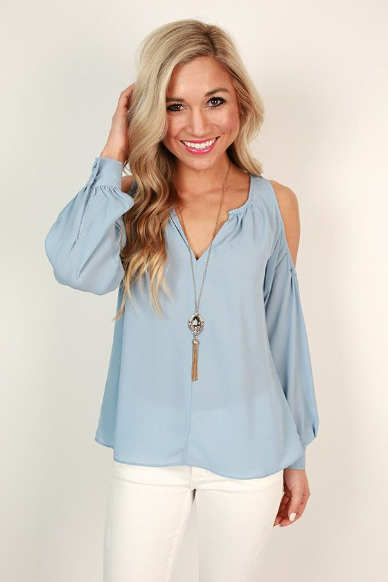 Gardenia Gorgeous Cold Shoulder Top in Serenity