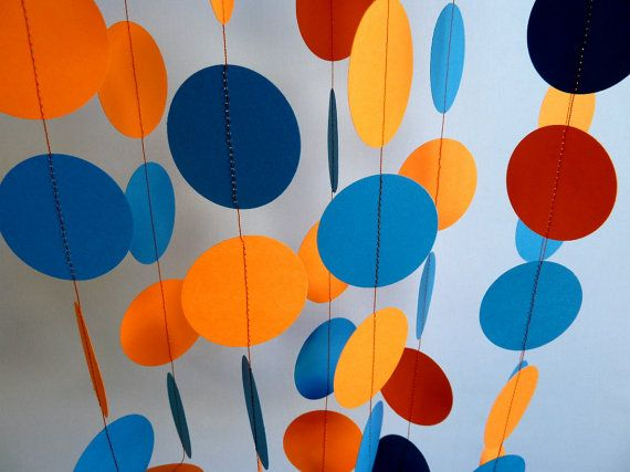 Orange and Blue Paper Garland, Birthday Party Decorations via Etsy