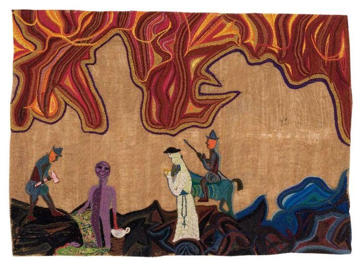 Los conquistadores.  1964.  142 x 196 cm.  Yute bordado con lanigrafía.  Fundación Violeta Parra.