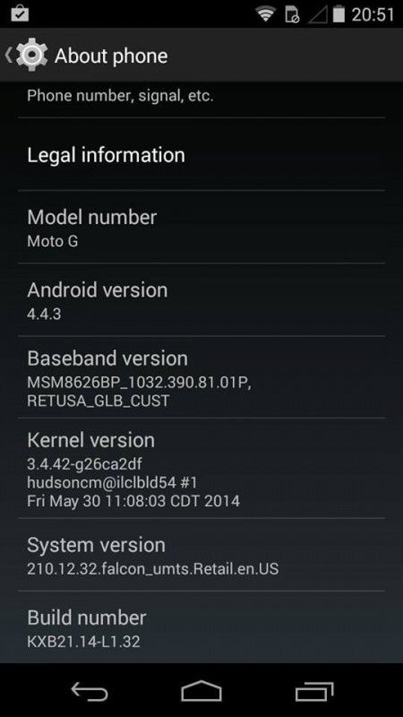 Android 4.4.3 OTA update for the Motorola Moto G Captured