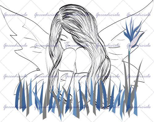 Giovane fata timida e un pò malinconica si abbraccia le gambe nascosta dietro steli di erba. Un fiore solitario si erge a tenerle compagnia. Realizzata con tecnica a china e grafica computerizzata.