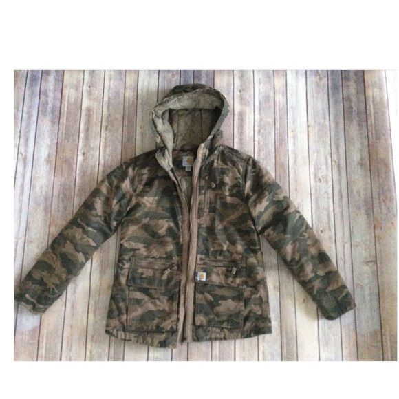 Carhartt- Woman's Jacket- Worn Twice-1⃣day sale Very doc, light colored camo shade- similar to stock photo color in picture 4. No holes or stains. 060 Carhartt Jackets & Coats Utility Jackets