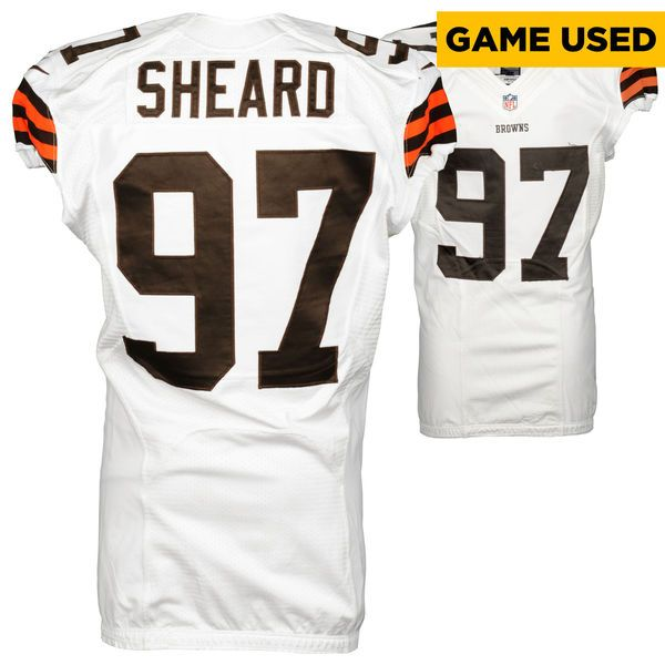Jabaal Sheard Cleveland Browns Fanatics Authentic Game Used White #97 Jersey from the 2014 Season - 2 - $179.97