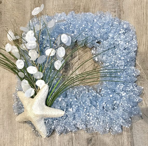Square Blue Starfish Wreath Beachy Chic Seaside Decor Coastal