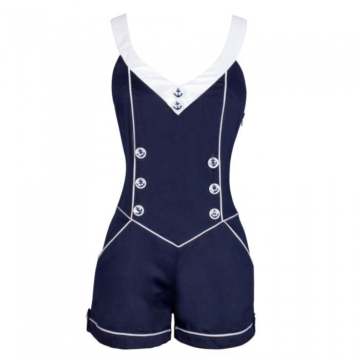 Sailor Style Blue and White Playsuit