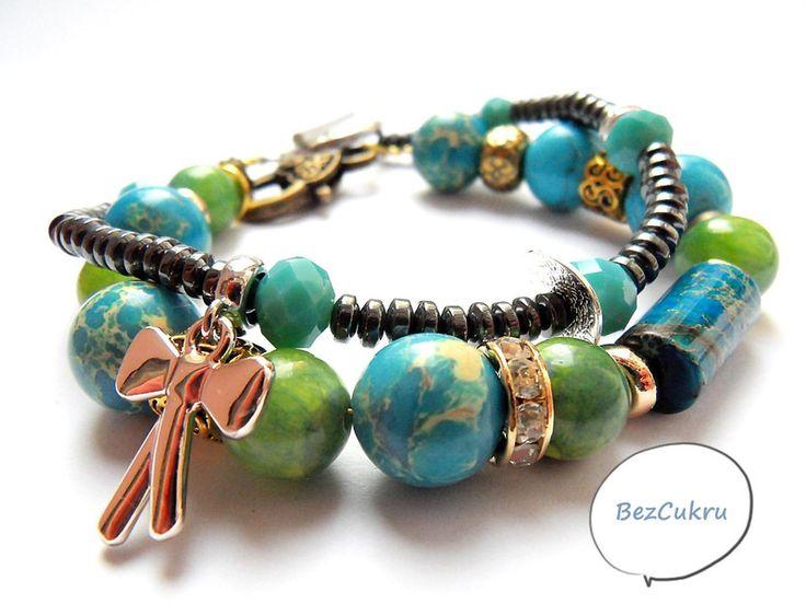 Bransoletka BezCukru, podwójna, wygodne zapięcie w BezCukru - biżuteria z charakterem na DaWanda.com
