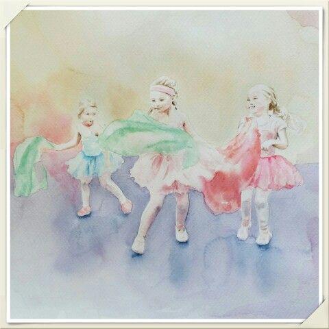 Ballerinas / Aquarelle painting made by Tinterova