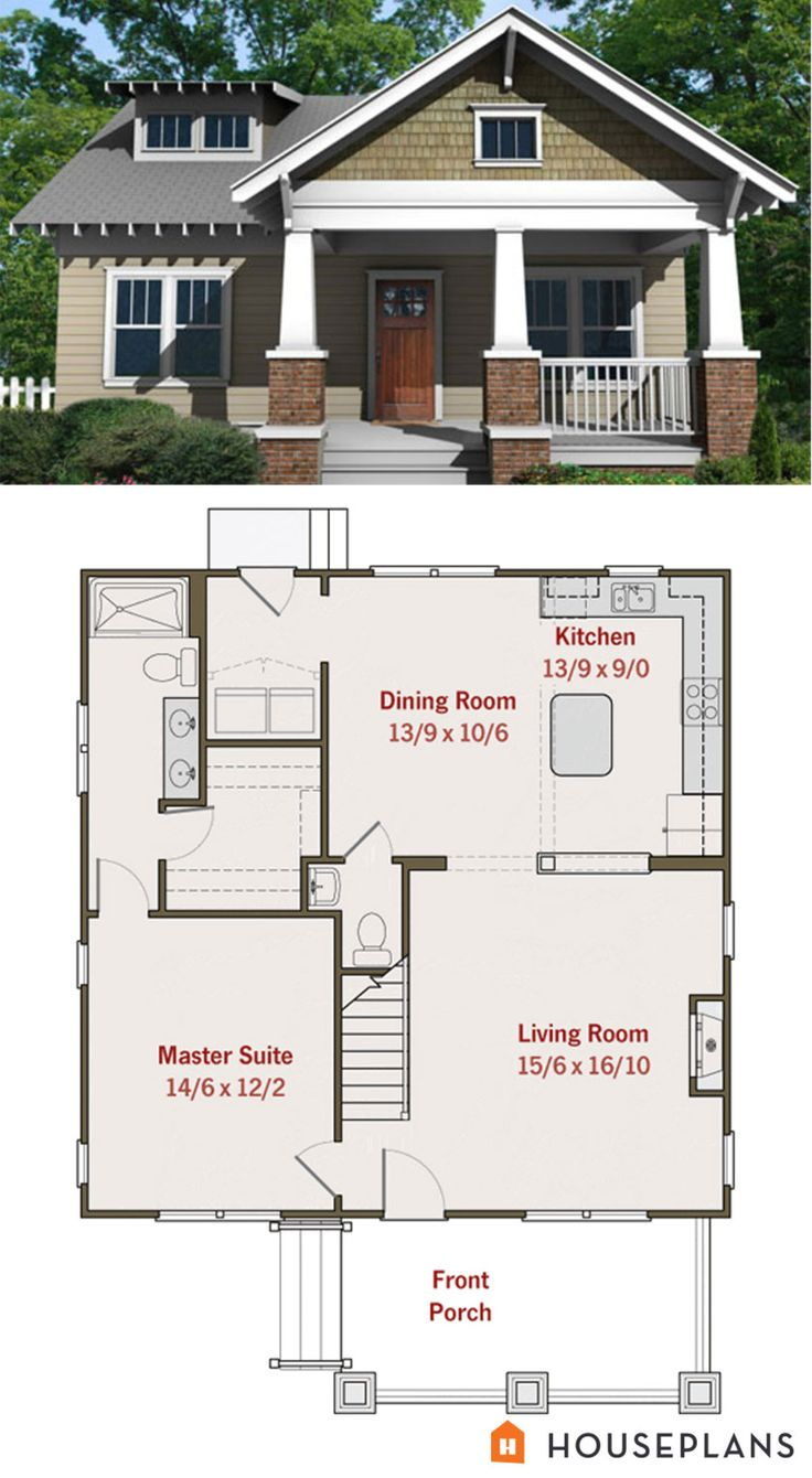 small craftsman bungalow floor plan and elevation - Small House Plans