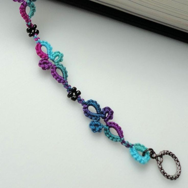 Tatted bracelet hand dyed tatting by Marilee Rockley