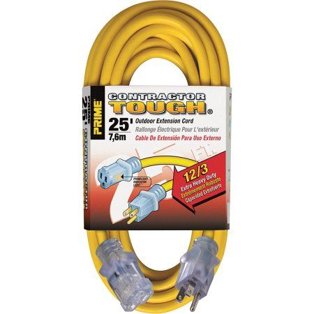 Prime Wire & Cable Heavy Duty Outdoor Extension Cord EC511825 - 25 Feet 12/3 Sjtw Yellow Jobsite with Indicator Light, 8 Pack