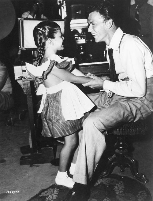 Sinatra with daughter nancy on the set of it happened in brooklyn