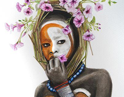 Africa, flores, flower, art, paint, acuarela, mujer, etiopia.