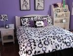 Fancy Small Teenage Girl Bedroom Idea With Chic Flowers Bedding Set And Vintage White Nightstand And Shelving Unit And Framed Drawing Decorated On Violet Wall Paint Color Also Laminate Wood Flooring