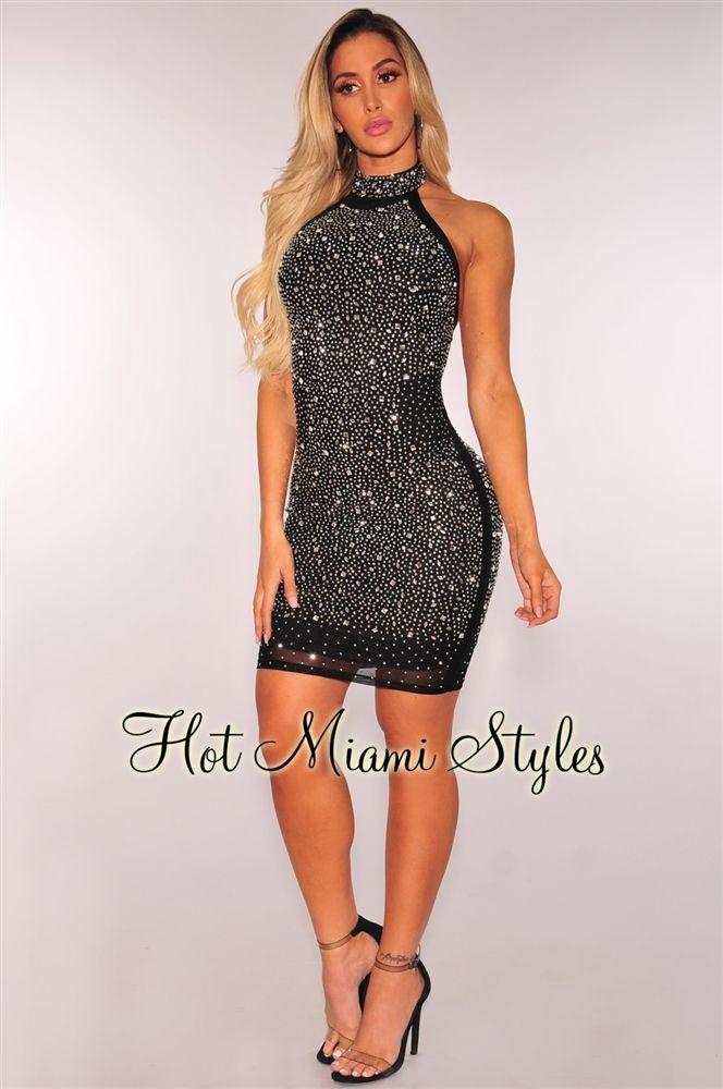 7a2cf3e47eed3 Black Silver Rhinestone Embellished Halter Dress   Desserts   Silver ...