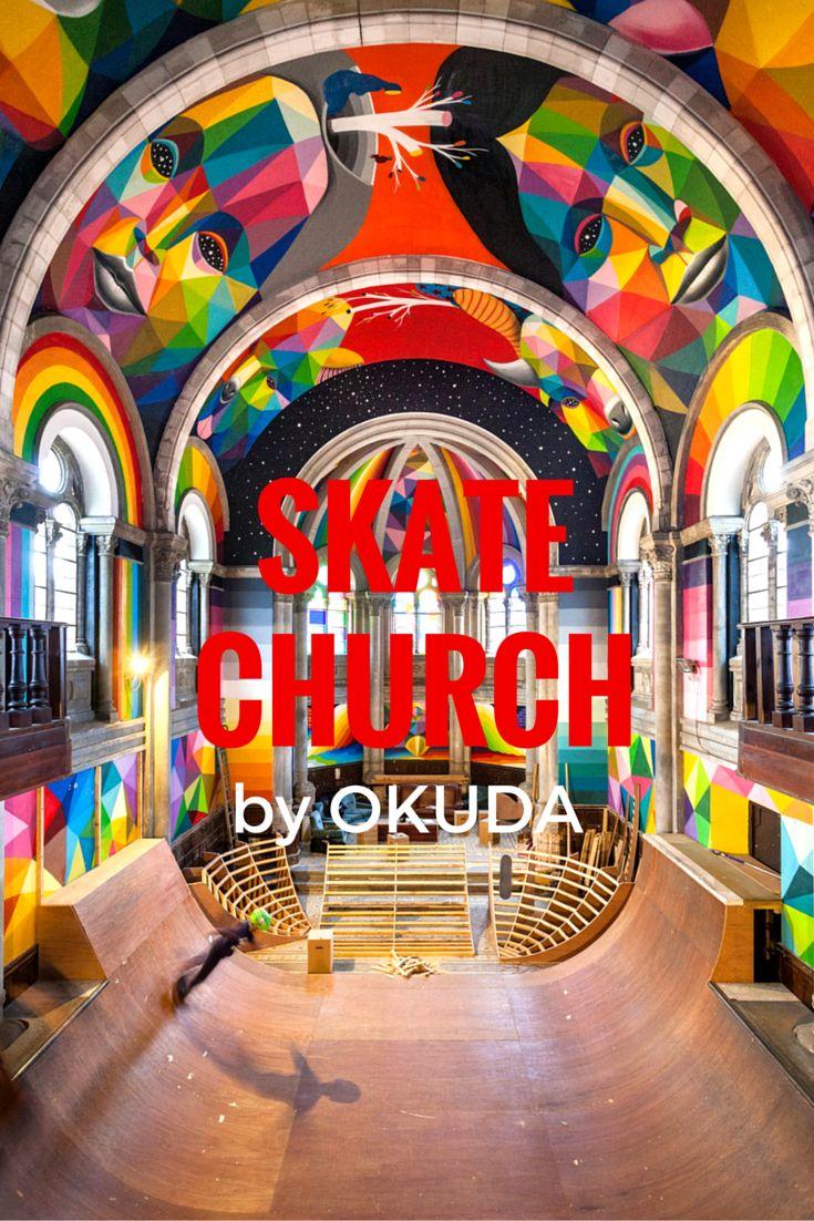 La iglesia donde se hace skate, decorada por Okuda