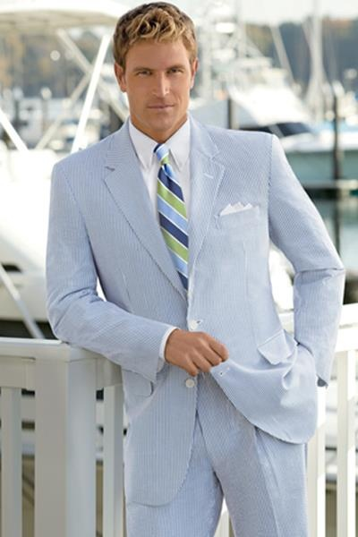 OMG my fave, great compromise, casual but will look great WITH my dress!!! Great  suit for a summertime wedding -complete with a blush tie and pocket square - Jos A. Bank