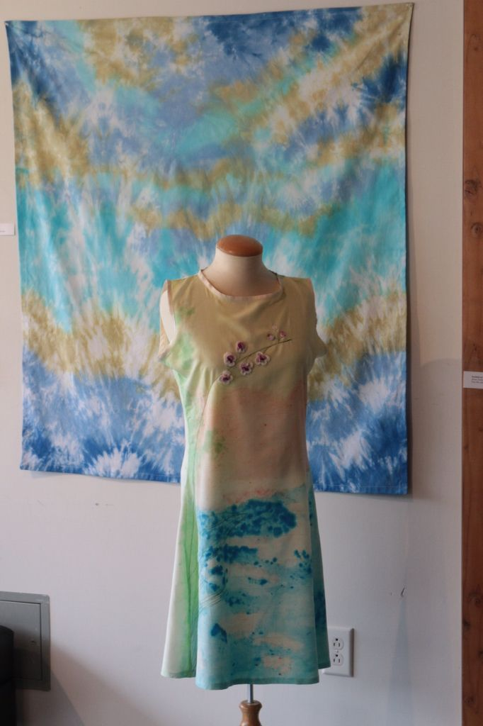Orchids at Sunrise... Hand-dyed fuji silk, machine embroidery and crochet dress