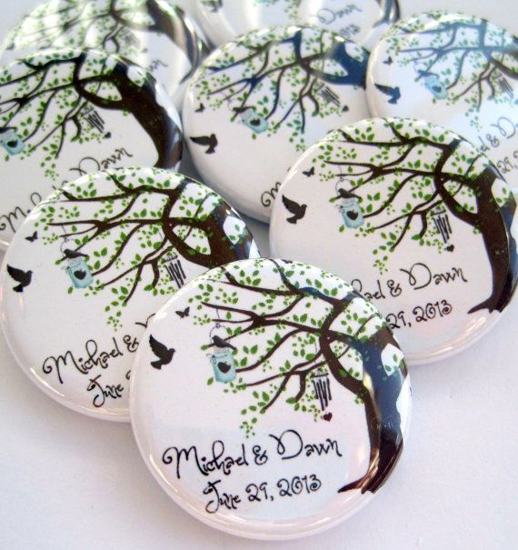 Wedding Favors - Rustic Wedding Favors - 25 Personalized 1.25 Inch Button Magnets - Wedding Favor Magnets - Custom Wedding Favors