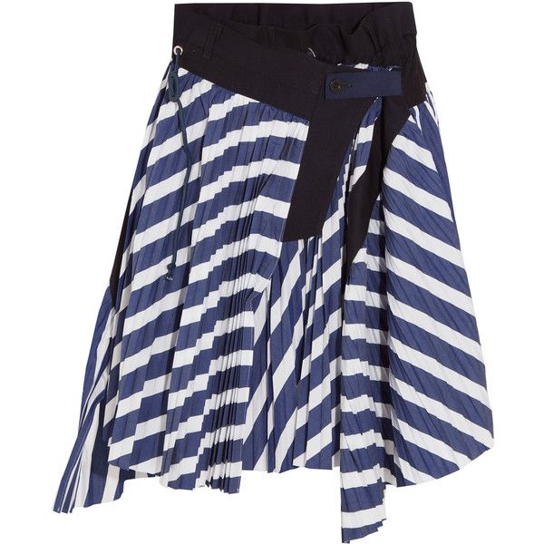 Sacai Cole asymmetric pleated striped cotton skirt (58.385 RUB) ❤ liked on Polyvore featuring skirts, navy, navy striped skirt, navy pleated skirt, navy blue skirt, asymmetrical skirt and stripe skirts
