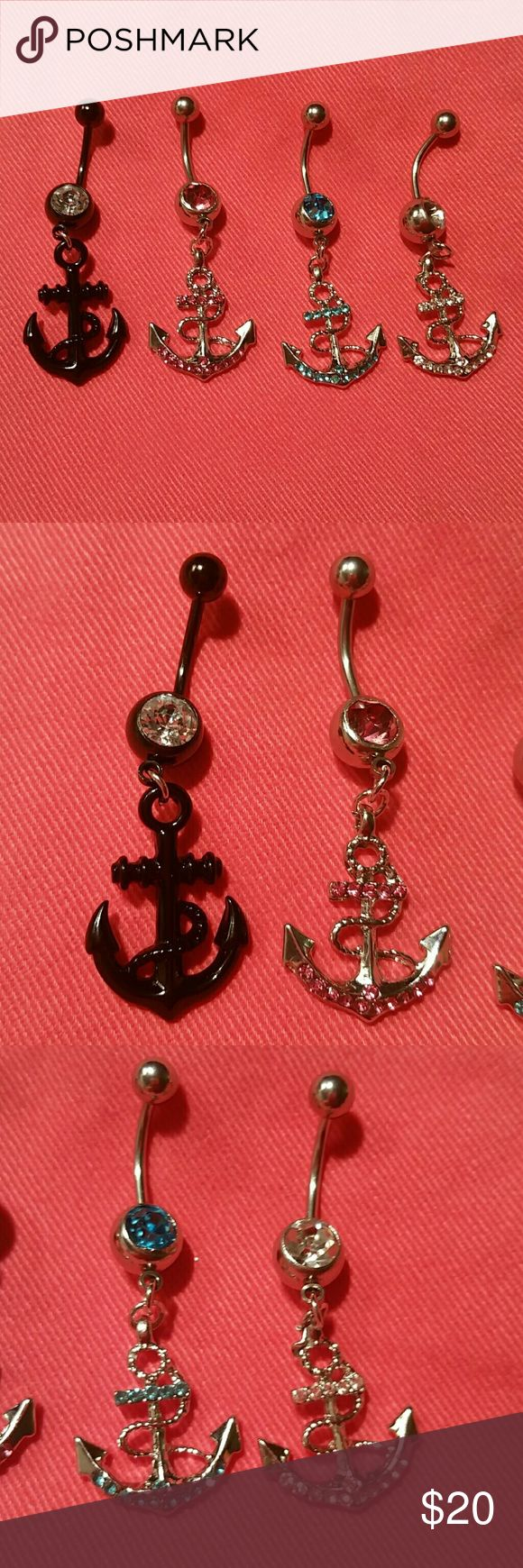 """4 NEW Anchor Dangle Crystal Navel Ring Lot Bundle of 4 BRAND NEW, never used (as that is unsanitary, even when well cleaned) curved barbell/banana navel (belly button) body piercing jewelry. Surgical grade stainless steel, standard 14g 7/16"""" bar length, with sparkling crystal rhinestones in bottom ball.   LOTS more NEW body jewelry in my closet!  Thank you for visiting, happy poshing! :)  SORRY, NO TRADES  BUNDLE & SAVE! Jewelry"""
