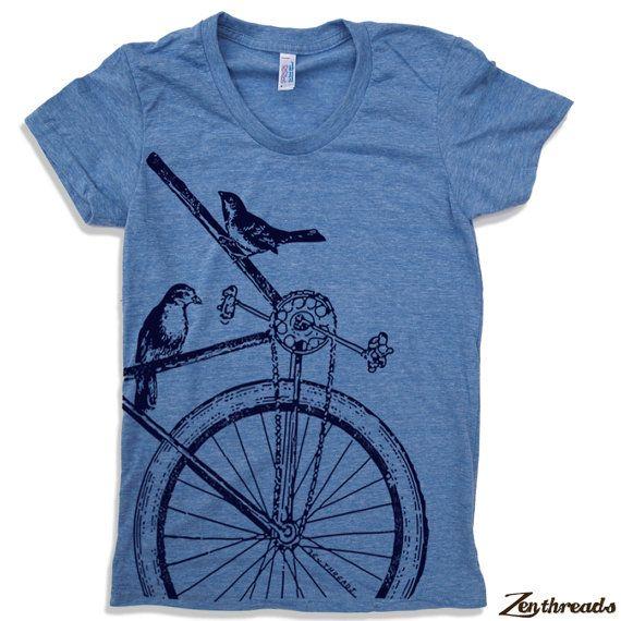 Womens SPARROW BIKE T Shirt S M L XL 14 Colors by ZenThreads, $18.00