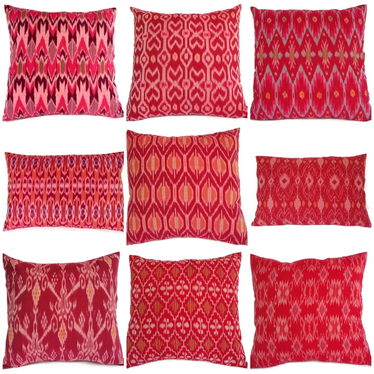 Ikat Pillows Pink Set of 9 16x16 12x18 by ginette1223 on Etsy