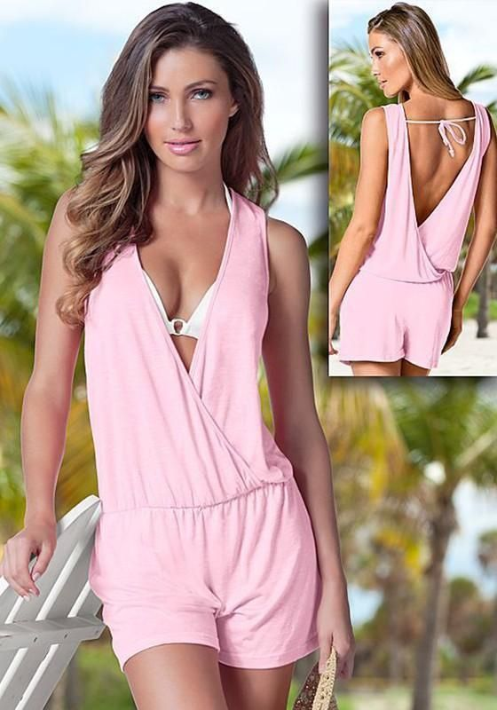 61735cb5eaa1 Pink Tie Back Backless Plunging Neckline Casual Short Jumpsuit ...