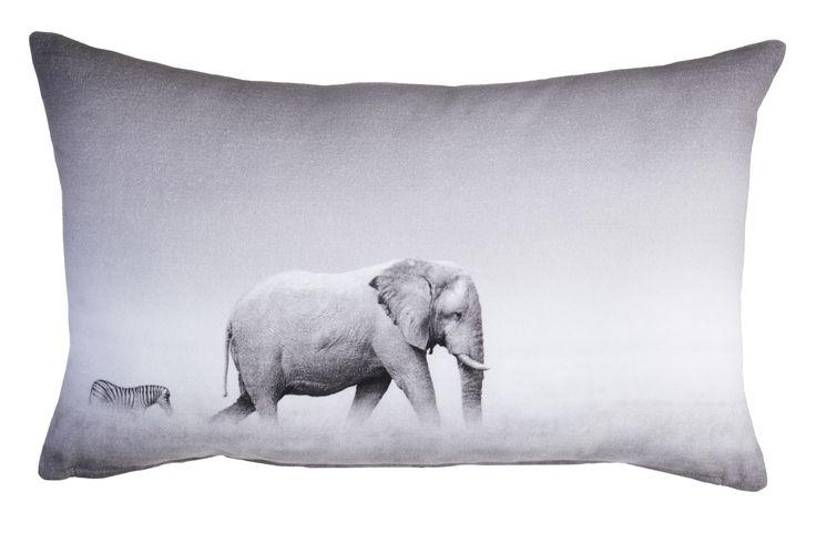 Sierkussen KAAT Herd Grey - NIEUWE COLLECTIE | Cushion KAAT | http://www.livengo.nl/beddengoed/sierkussens | #kussen #grijs #olifant #livengo